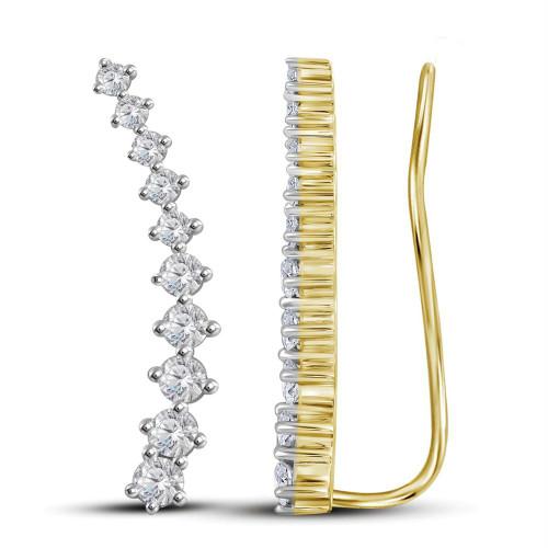 14kt Yellow Gold Womens Round Diamond Climber Earrings 3/4 Cttw
