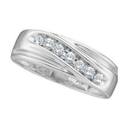 14kt White Gold Mens Round Channel-set Diamond Wedding Anniversary Band Ring 1/4 Cttw