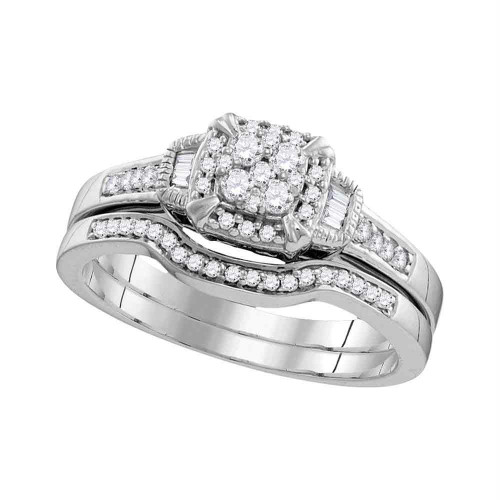 10k White Gold Womens Round Diamond Cluster Bridal Wedding Engagement Ring Band Set 3/8 Cttw - 109786-8
