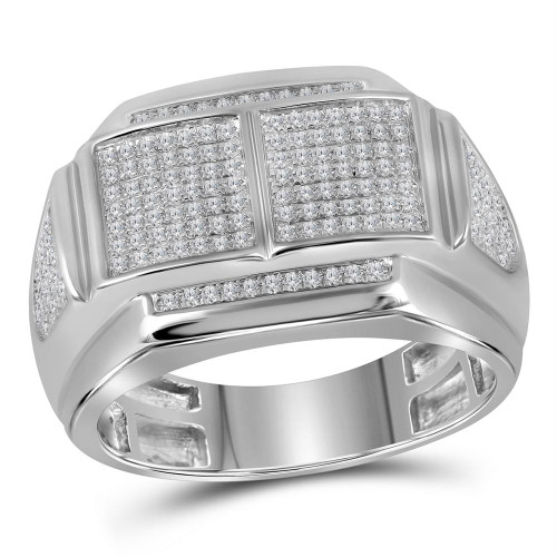 10kt White Gold Mens Round Diamond Double Square Cluster Ring 3/8 Cttw