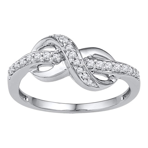 10kt White Gold Womens Round Diamond Infinity Ring 1/5 Cttw