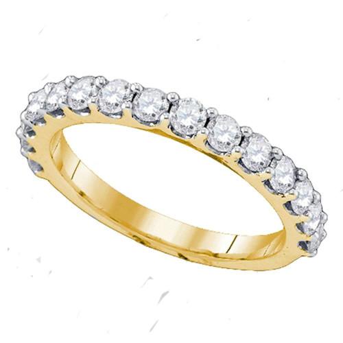 14kt Yellow Gold Womens Round Pave-set Diamond Single Row Wedding Band 1/4 Cttw