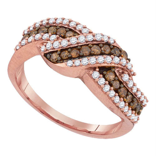 10kt Rose Gold Womens Round Cognac-brown Color Enhanced Diamond Crossover Band Ring 3/4 Cttw