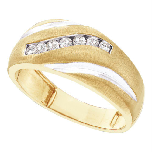 10kt Yellow Gold Mens Round Diamond Single Row Wedding Band Ring 1/4 Cttw