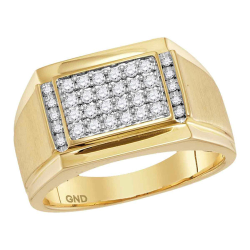 14kt Yellow Gold Mens Round Diamond Square Cluster Ring 3/8 Cttw