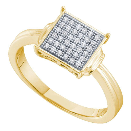 10kt Yellow Gold Womens Round Diamond Square Cluster Ring 1/10 Cttw - 52651-9.5