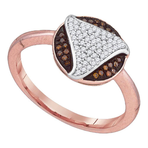 10kt Rose Gold Womens Round Red Color Enhanced Diamond Fashion Ring 1/5 Cttw - 89941-5