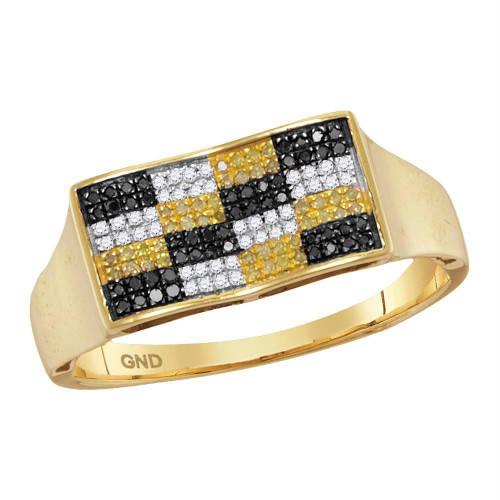 10kt Yellow Gold Mens Round Black Yellow Color Enhanced Diamond Checkered Cluster Ring 1/4 Cttw
