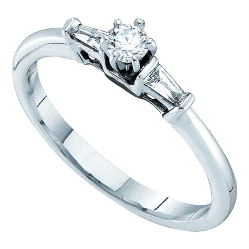 14kt White Gold Womens Round Diamond Solitaire Bridal Wedding Engagement Ring 1/5 Cttw - 52545-10.5