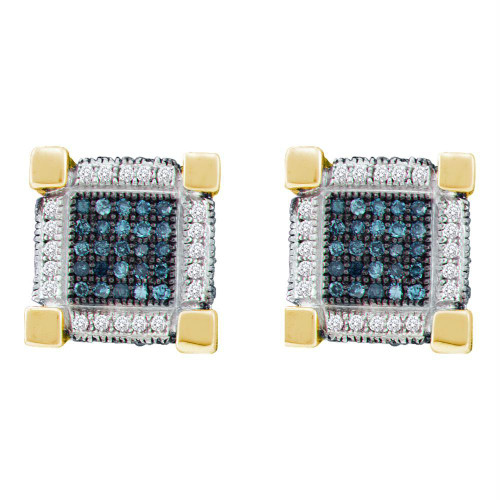 10kt Yellow Gold Mens Round Blue Color Enhanced Diamond 3D Cube Square Earrings 3/4 Cttw