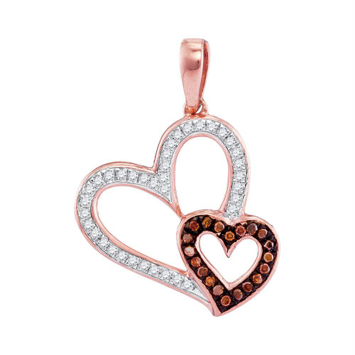 10kt Rose Gold Womens Round Red Color Enhanced Diamond Double Heart Pendant 1/6 Cttw