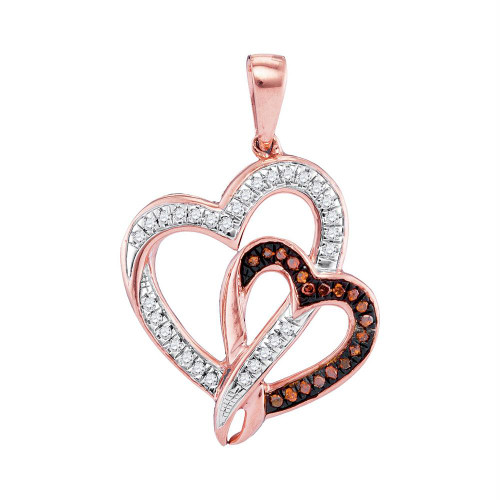 10kt Rose Gold Womens Round Red Color Enhanced Diamond Double Heart Pendant 1/6 Cttw - 97957