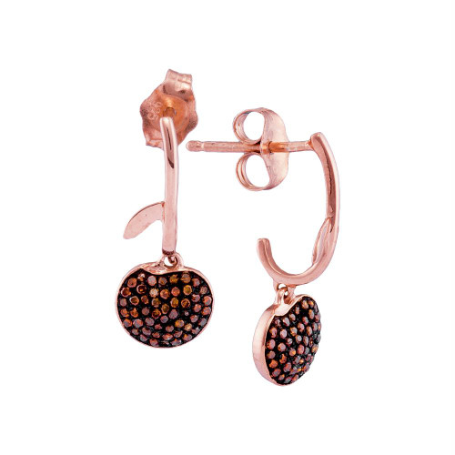 10kt Rose Gold Womens Round Red Color Enhanced Diamond Dangle Cluster Earrings 1/4 Cttw