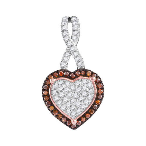 10kt Rose Gold Womens Round Red Color Enhanced Diamond Heart Love Pendant 1/4 Cttw - 97944
