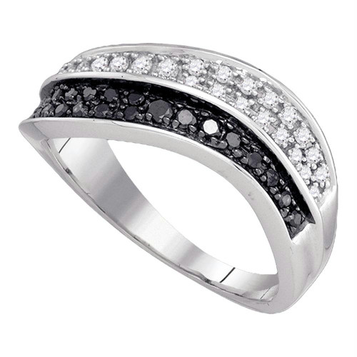 10k White Gold Womens Black Color Enhanced Round Diamond Cocktail Band Ring 1/3 Cttw