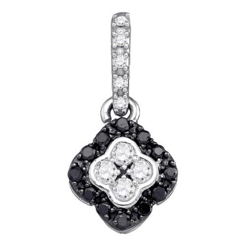 10kt White Gold Womens Round Black Color Enhanced Diamond Quatrefoil Cluster Pendant 1/3 Cttw