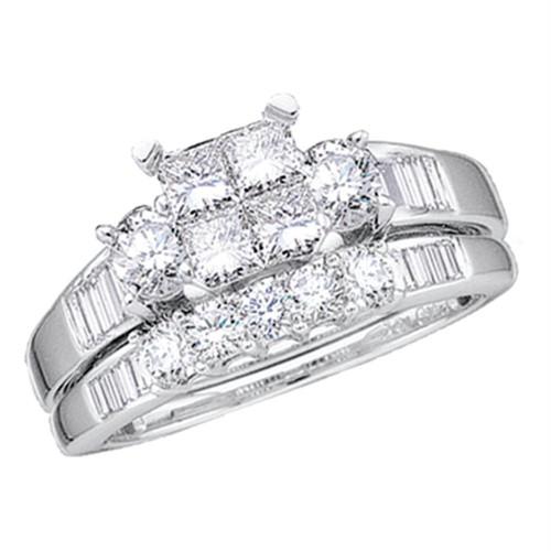 10kt White Gold Womens Princess Diamond Bridal Wedding Engagement Ring Band Set 1/2 Cttw - 73823-10