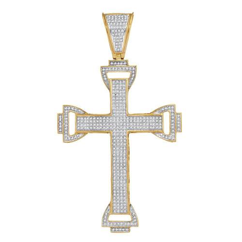 10kt Yellow Gold Mens Round Diamond Capital Cross Charm Pendant 1-1/10 Cttw