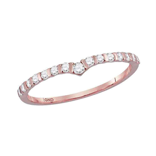 10kt Rose Gold Womens Round Diamond Chevron Stackable Band Ring 1/4 Cttw