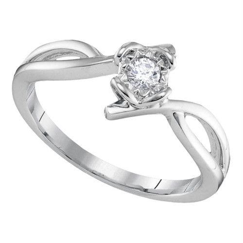 10kt White Gold Womens Round Diamond Solitaire Promise Bridal Ring 1/8 Cttw - 90933-10.5