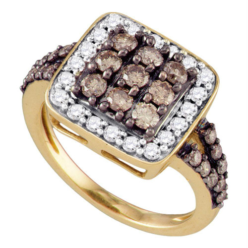 10kt Rose Gold Womens Round Cognac-brown Color Enhanced Diamond Square Cluster Ring 1-5/8 Cttw