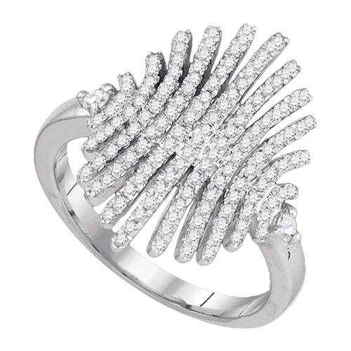 10k White Gold Round Pave-set Diamond Womens Wide Luxury Cocktail Band Ring 1/2 Cttw