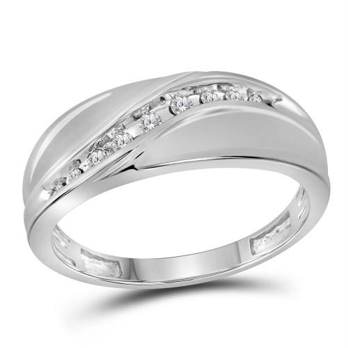 10kt White Gold Mens Round Diamond Single Row Fashion Band Ring 1/8 Cttw