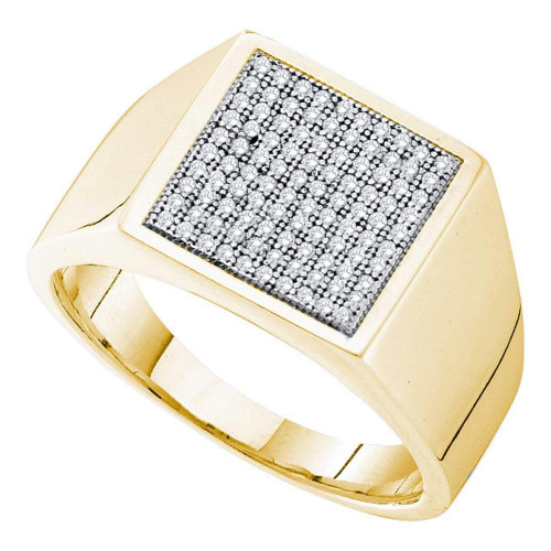 10kt Yellow Gold Mens Round Pave-set Diamond Square Cluster Ring 1/3 Cttw