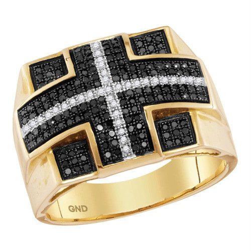 10kt Yellow Gold Mens Round Black Color Enhanced Diamond Cross Stripe Square Cluster Ring 5/8 Cttw