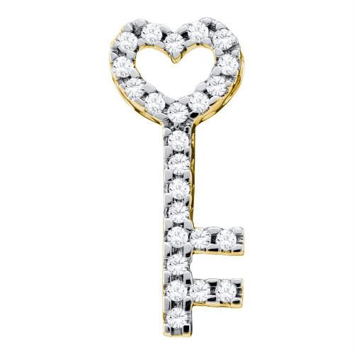 10kt Yellow Gold Womens Round Diamond Key Heart Pendant 1/4 Cttw