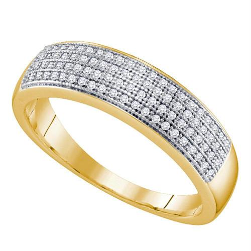 10kt Yellow Gold Mens Round Pave-set Diamond Wedding Band Ring 1/4 Cttw - 64566-8.5