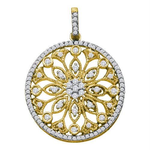 10kt Yellow Gold Womens Round Diamond Antique-style Circle Pendant 1/2 Cttw