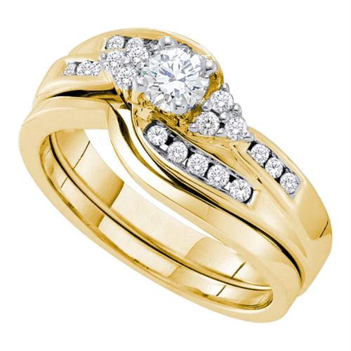 14kt Yellow Gold Womens Round Diamond Bridal Wedding Engagement Ring Band Set 1/2 Cttw - 52834-10