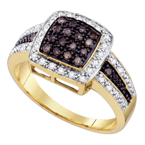 10k Yellow Gold Cognac-brown Color Enhanced Diamond Womens Cluster Square-shape Cocktail Ring 1/2 Cttw