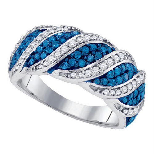 10kt White Gold Womens Round Blue Color Enhanced Diamond Cascading Band Ring 3/4 Cttw