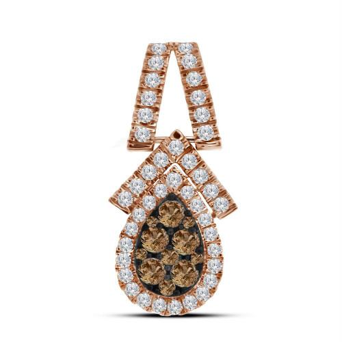10kt Rose Gold Womens Round Cognac-brown Color Enhanced Diamond Teardrop Cluster Pendant 7/8 Cttw
