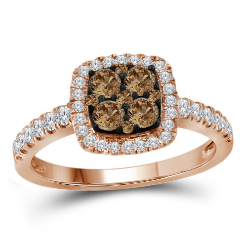 10kt Rose Gold Womens Round Brown Diamond Square Cluster Ring 3/4 Cttw
