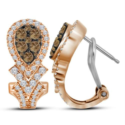 10kt Rose Gold Womens Round Cognac-brown Color Enhanced Diamond Cluster Hoop Earrings 1.00 Cttw