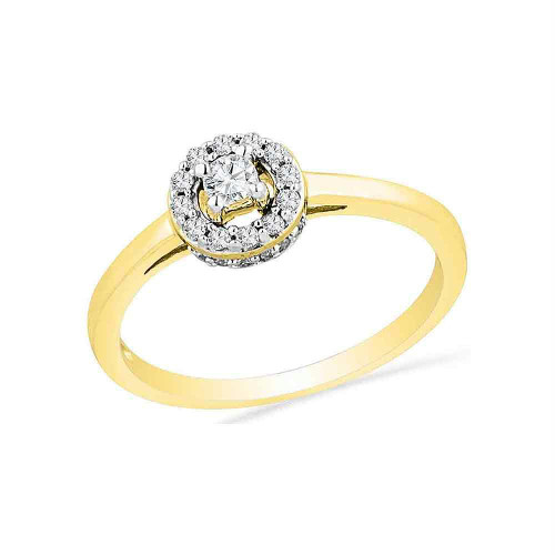 10kt Yellow Gold Womens Round Diamond Solitaire Halo Promise Bridal Ring 1/4 Cttw - 100340-7