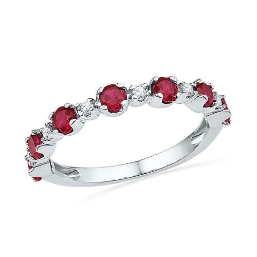 10kt White Gold Womens Round Lab-Created Ruby Band Ring 1-1/10 Cttw