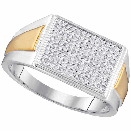 10kt Two-tone White Gold Womens Round Diamond Rectangle Cluster Ring 1/3 Cttw