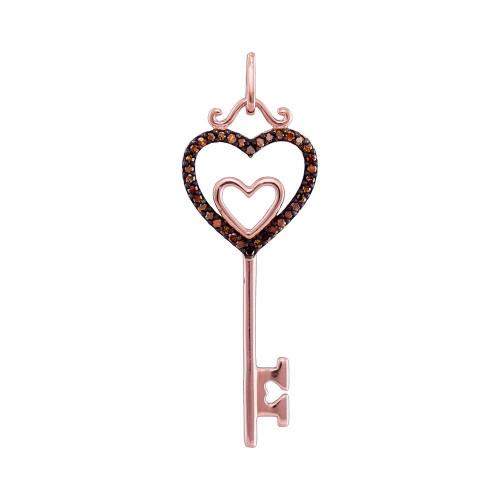 10kt Rose Gold Womens Round Red Color Enhanced Diamond Key Love Pendant 1/10 Cttw