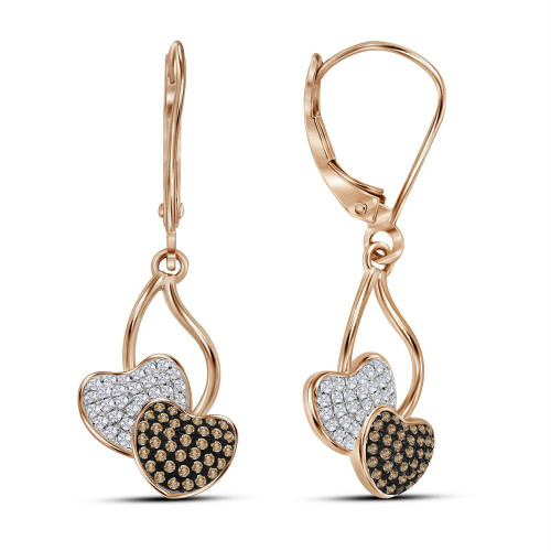 10kt Rose Gold Womens Round Red Color Enhanced Diamond Heart Dangle Earrings 1/3 Cttw