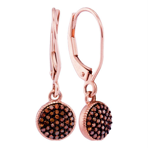 10kt Rose Gold Womens Round Red Color Enhanced Diamond Cluster Dangle Earrings 1/5 Cttw