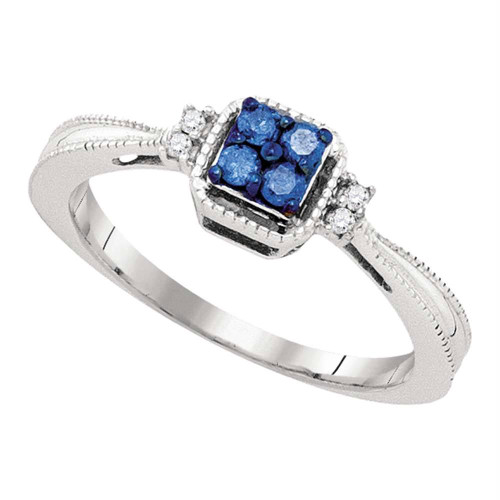 10k White Gold Blue Color Enhanced Round Diamond Womens Simple Cluster Band Ring 1/6 Cttw