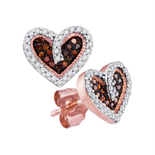 10kt Rose Gold Womens Round Red Color Enhanced Diamond Heart Love Screwback Earrings 1/5 Cttw