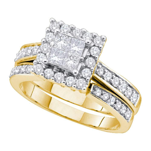 14kt Yellow Gold Womens Princess Diamond Square Halo Bridal Wedding Engagement Ring Band Set 1.00 Cttw