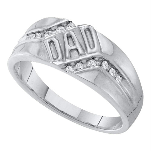 10kt White Gold Mens Round Diamond Dad Father Band Ring 1/8 Cttw