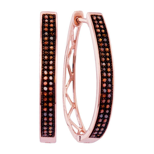 10kt Rose Gold Womens Round Red Color Enhanced Diamond Double Row Hoop Earrings 1/3 Cttw