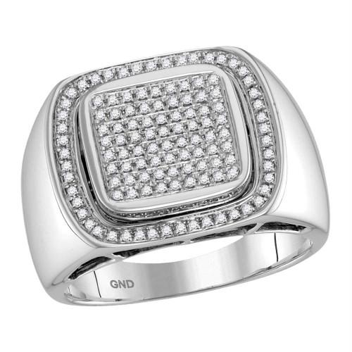 10kt White Gold Mens Round Diamond Square Frame Cluster Ring 1/2 Cttw - 41017-9.5